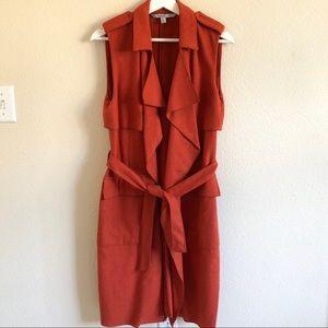 Zara Outerwear Long Orange Tweed Vest